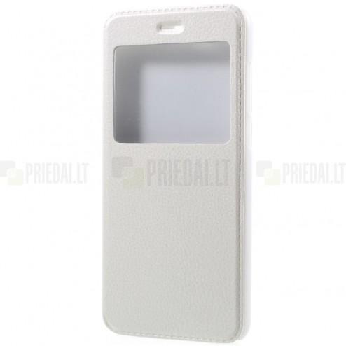 """Huawei Honor 9 (Honor 9 Premium) baltas odinis atverčiamas """"View Window"""" dėklas su langeliu"""