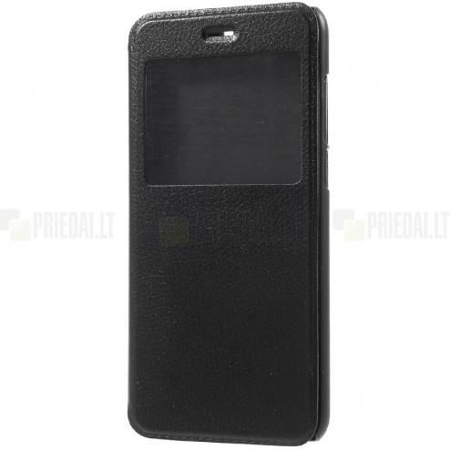 """Huawei Honor 9 (Honor 9 Premium) juodas odinis atverčiamas """"View Window"""" dėklas su langeliu"""