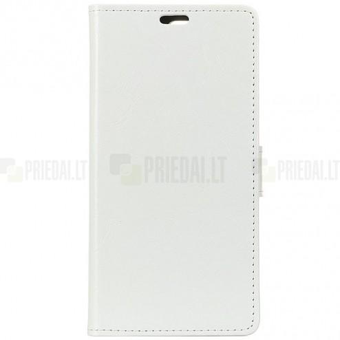 Huawei Mate 20 Lite atverčiamas baltas odinis dėklas - piniginė