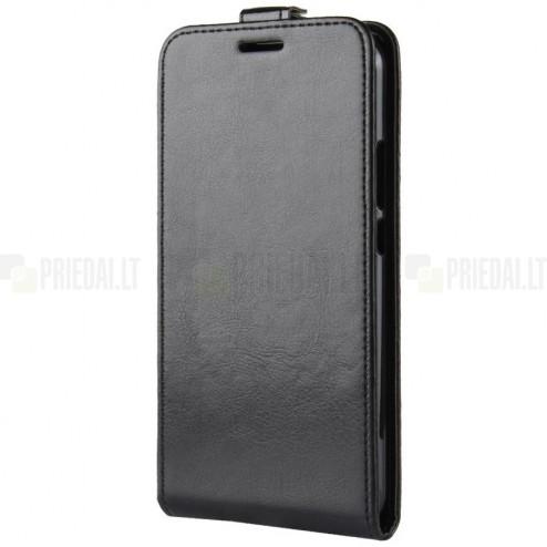 Huawei Mate 20 Lite klasikinis vertikaliai atverčiamas juodas odinis dėklas