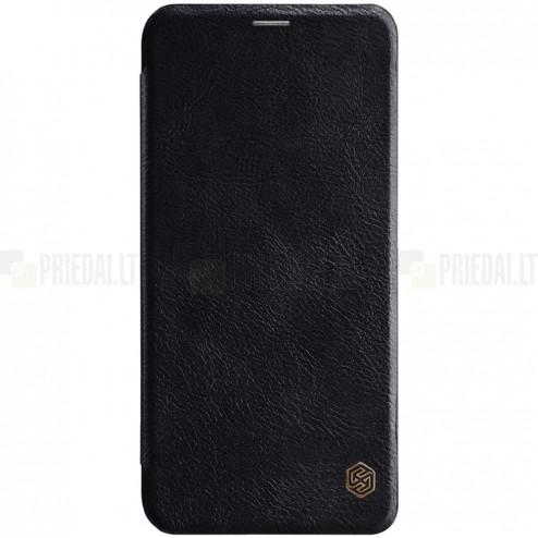 """Prabangus """"Nillkin"""" Qin serijos juodas odinis atverčiamas Huawei Mate 20 Lite dėklas - knygutė"""