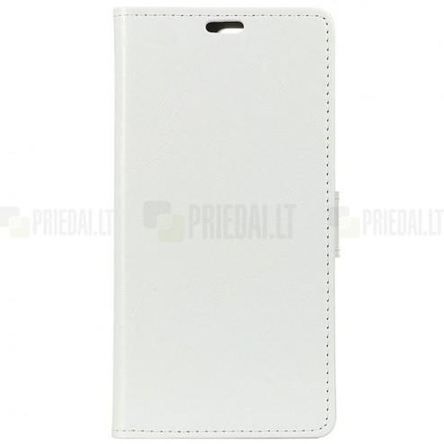 Huawei Mate 20 Pro atverčiamas baltas odinis dėklas - piniginė