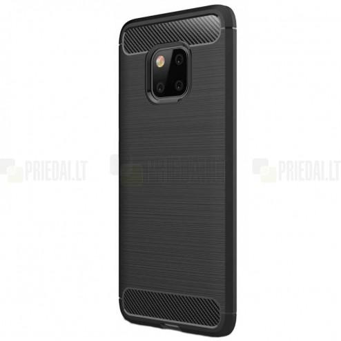 """Huawei Mate 20 Pro """"Carbon"""" kieto silikono TPU juodas dėklas - nugarėlė"""