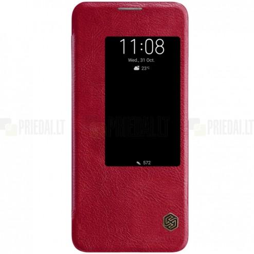 """Prabangus """"Nillkin"""" Qin serijos raudonas odinis atverčiamas Huawei Mate 20 Pro dėklas"""