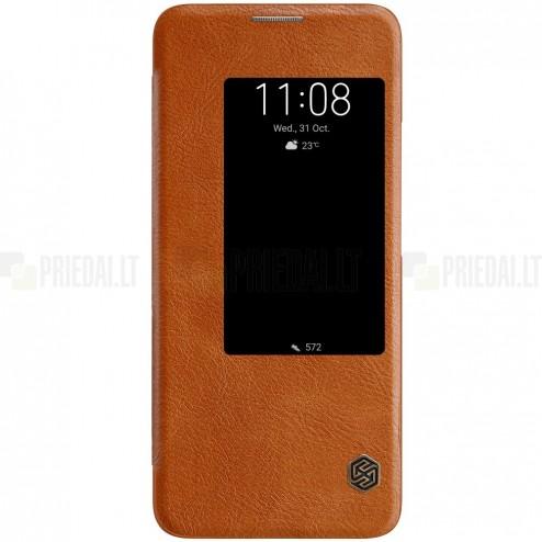 """Prabangus """"Nillkin"""" Qin serijos rudas odinis atverčiamas Huawei Mate 20 Pro dėklas"""