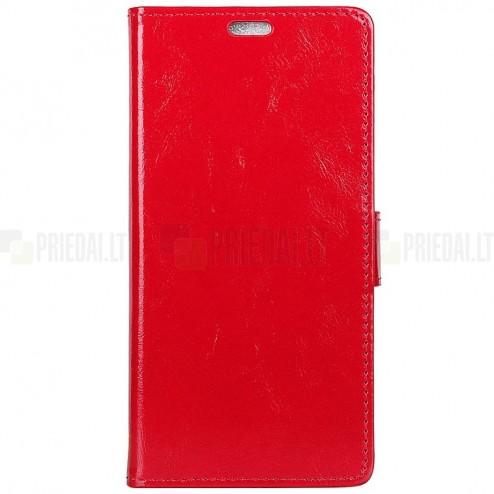 Huawei Mate 20 Pro atverčiamas raudonas odinis dėklas - piniginė