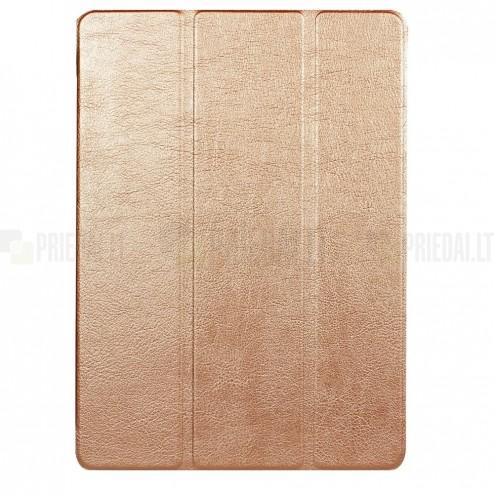 Huawei MediaPad T3 10 atverčiamas aukso spalvos odinis dėklas - knygutė