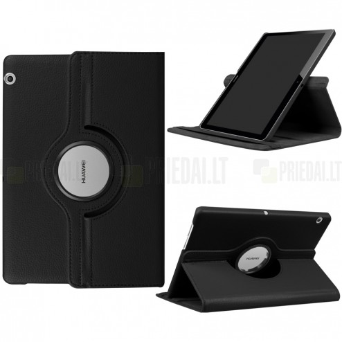 Huawei MediaPad T3 10 atverčiamas, sukamas 360 laipsnių, juodas odinis dėklas - stovas