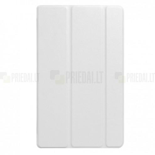 Huawei MediaPad T3 8.0 atverčiamas baltas odinis dėklas - knygutė