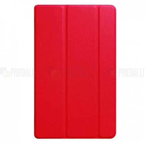 Huawei MediaPad T3 8.0 atverčiamas raudonas odinis dėklas - knygutė