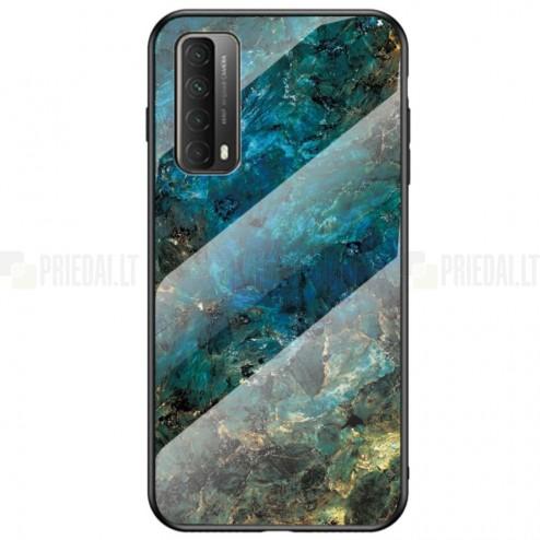 """Huawei P smart 2021 """"Marble"""" kieto silikono TPU mėlynas dėklas - nugarėlė"""