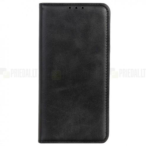 """Huawei P smart 2021 """"Split"""" serijos juodas odinis atverčiamas dėklas - knygutė"""