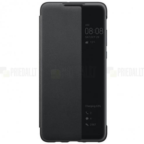 Oficialus Huawei P30 Lite Smart View Flip Cover juodas atverčiamas dėklas - knygutė