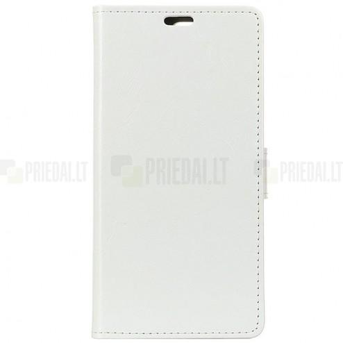 Huawei P30 Lite atverčiamas baltas odinis dėklas, knygutė - piniginė