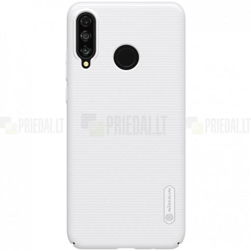 Nillkin Frosted Shield Huawei P30 Lite baltas plastikinis dėklas