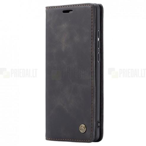 Huawei P30 Pro CaseMe Retro solidus atverčiamas juodas odinis dėklas - knygutė