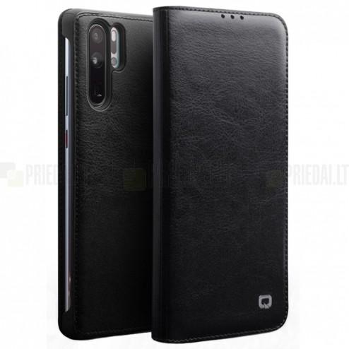 """Huawei P30 Pro """"QIALINO"""" atverčiamas juodas odinis dėklas - knygutė"""