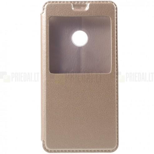 """Huawei P9 Lite auksinis odinis atverčiamas """"Smart Window"""" dėklas su langeliu"""