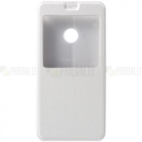 """Huawei P9 Lite baltas odinis atverčiamas """"Smart Window"""" dėklas su langeliu"""