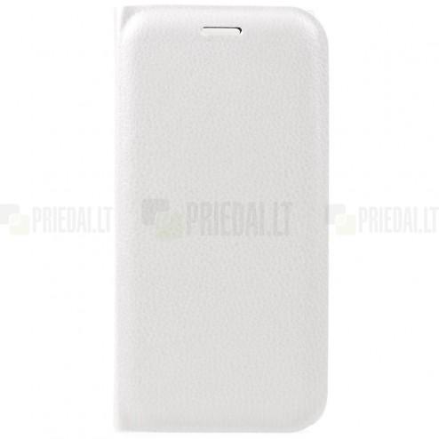 Huawei P9 Lite 2017 (Huawei P8 Lite 2017) Edge baltas odinis atverčiamas Smart Wallet dėklas - piniginė