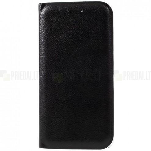 Huawei P9 Lite 2017 (Huawei P8 Lite 2017) Edge juodas odinis atverčiamas Smart Wallet dėklas - piniginė