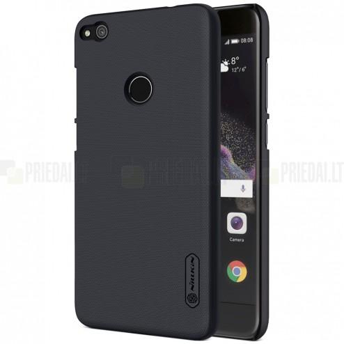 Huawei P9 Lite 2017 (P8 Lite 2017) Nillkin Frosted Shield juodas plastikinis dėklas + apsauginė ekrano plėvelė