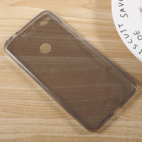 Huawei P9 Lite 2017 (Huawei P8 Lite 2017) skaidrus (permatomas) dvigubas kieto silikono TPU ploniausias pasaulyje pilkas dėklas