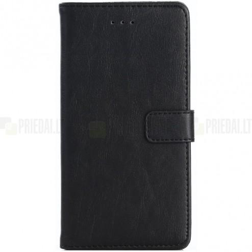 Huawei P9 lite 2017 (Huawei P8 Lite 2017) atverčiamas juodas odinis retro dėklas - piniginė
