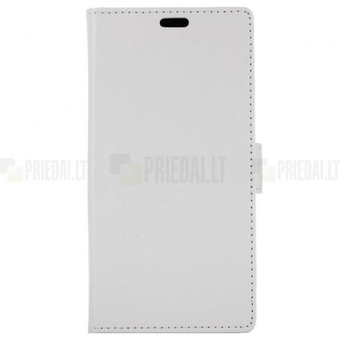 Huawei P9 Lite Mini (Y6 Pro 2017) atverčiamas baltas odinis dėklas, knygutė - piniginė