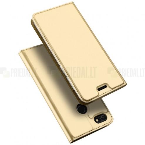 """""""Dux Ducis"""" Skin serijos Huawei P9 Lite Mini (Y6 Pro 2017) auksinis odinis atverčiamas dėklas"""