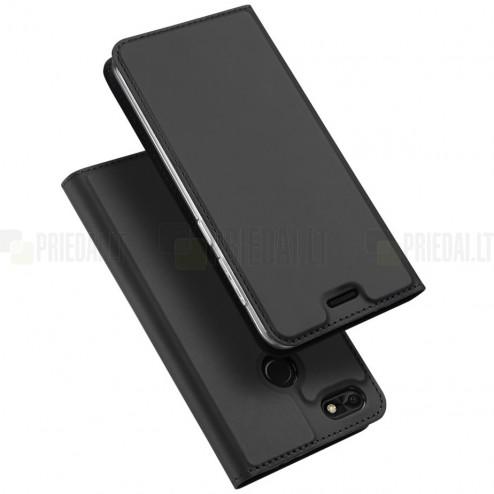 """""""Dux Ducis"""" Skin serijos Huawei P9 Lite Mini (Y6 Pro 2017) juodas odinis atverčiamas dėklas"""