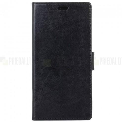 Huawei P9 Lite Mini (Y6 Pro 2017) atverčiamas juodas odinis dėklas, knygutė - piniginė