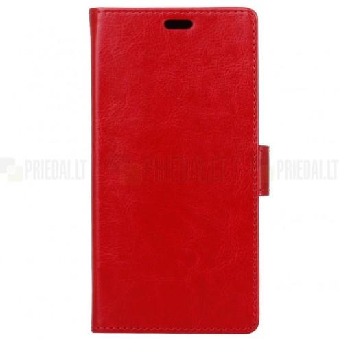 Huawei P9 Lite Mini (Y6 Pro 2017) atverčiamas raudonas odinis dėklas, knygutė - piniginė