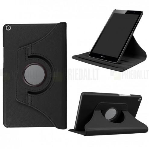 Huawei MediaPad T3 8.0 atverčiamas, sukamas 360 laipsnių, juodas odinis dėklas - stovas
