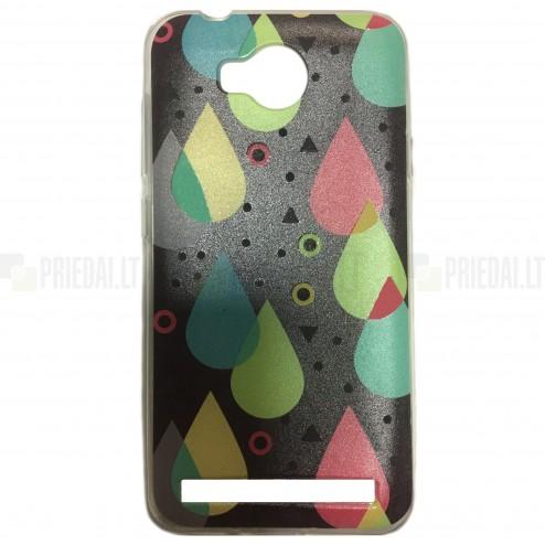 """Drops"" raštuotas juodas kieto silikono Huawei Y3 II (Huawei Y3 2) dėklas"