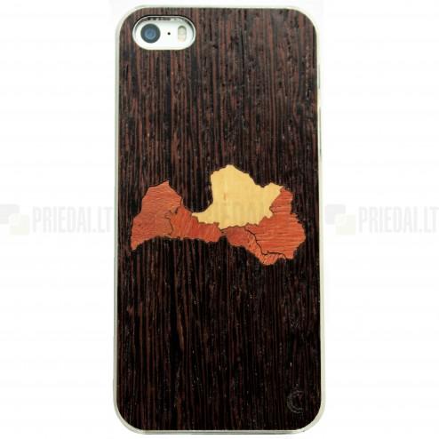 """Apple iPhone SE (5, 5s) """"Crafted Cover"""" Latvija natūralaus medžio dėklas (tamsus medis)"""