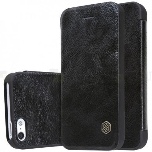 """Prabangus """"Nillkin"""" Qin serijos juodas odinis atverčiamas Apple iPhone 5 (5s, SE) dėklas"""