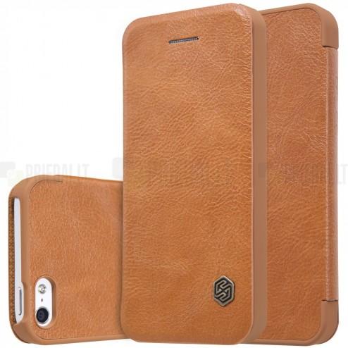 """Prabangus """"Nillkin"""" Qin serijos rudas odinis atverčiamas Apple iPhone 5 (5s, SE) dėklas"""