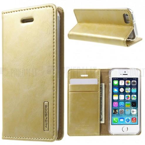 Mercury Blue Moon atverčiamas Apple iPhone SE (5, 5s) auksinis odinis dėklas - piniginė