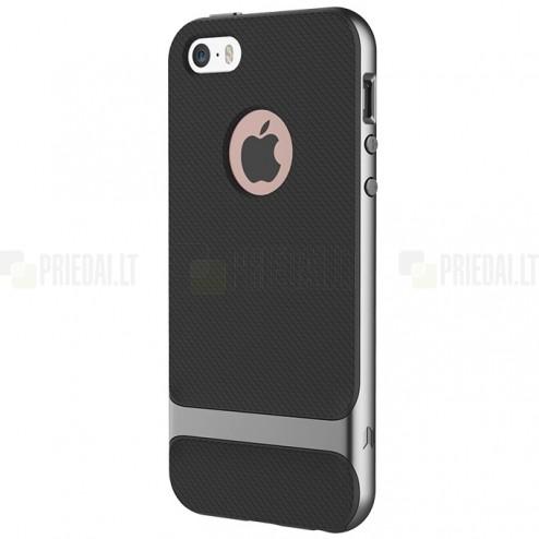 """""""Rock"""" Royce sustiprintos apsaugos Apple iPhone 5 (5s,SE) juodas pilkais apvadais kieto silikono (TPU) ir plastiko dėklas"""