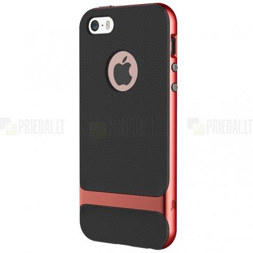 """""""Rock"""" Royce sustiprintos apsaugos Apple iPhone 5 (5s,SE) juodas kieto silikono (TPU) ir plastiko dėklas"""