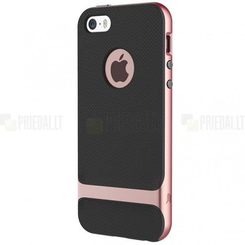 """""""Rock"""" Royce sustiprintos apsaugos Apple iPhone 5 (5s,SE) juodas rožiniais apvadais kieto silikono (TPU) ir plastiko dėklas"""