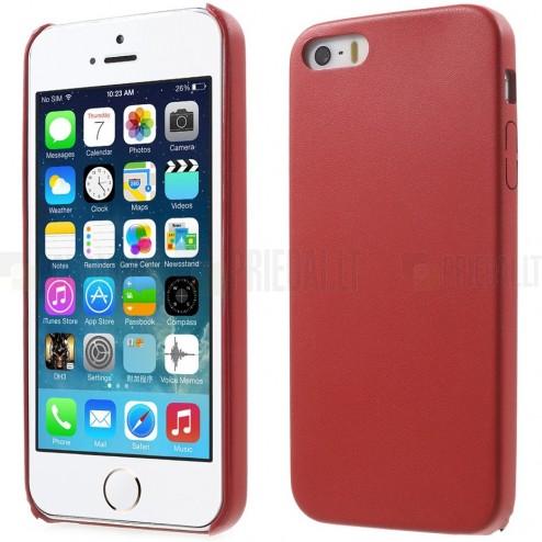 Apple iPhone SE (5, 5s) raudonas odinis Slim Leather itin plonas dėklas - nugarėlė