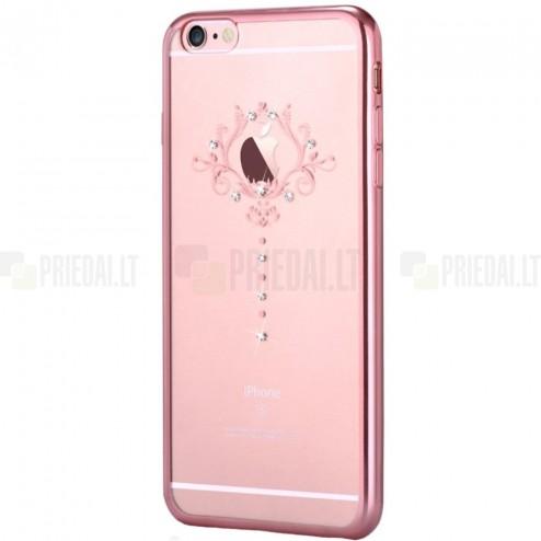Apple iPhone 6s Devia Iris Diamond silikoninis skaidrus permatomas rožinis dėklas su kristalais