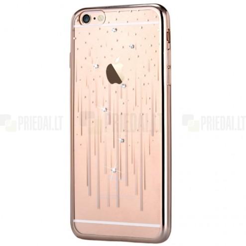 Apple iPhone 6s Devia Meteor Diamond silikoninis skaidrus permatomas auksinis dėklas su kristalais
