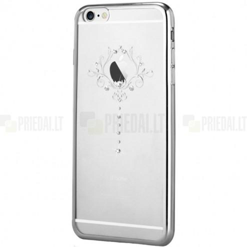 Apple iPhone 6s Devia Iris Diamond silikoninis skaidrus permatomas sidabrinis dėklas su kristalais