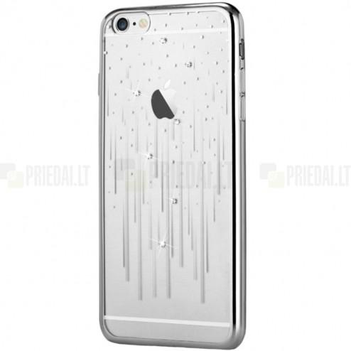 Apple iPhone 6s Devia Meteor Diamond silikoninis skaidrus permatomas sidabrinis dėklas su kristalais