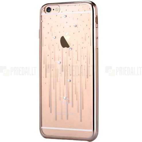 Apple iPhone 6s Plus Devia Meteor Diamond silikoninis skaidrus permatomas auksinis dėklas su kristalais