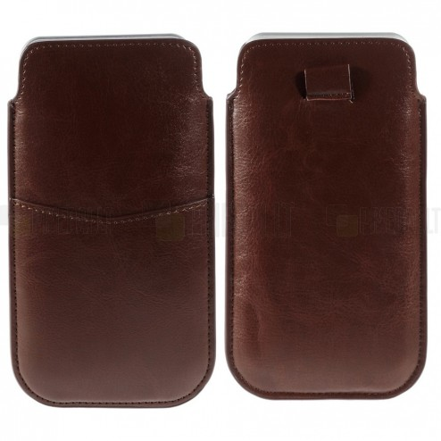 Ruda odinė universali Apple iPhone 6 plus įmautė (XL+ dydis) su kišenėle kortelėms