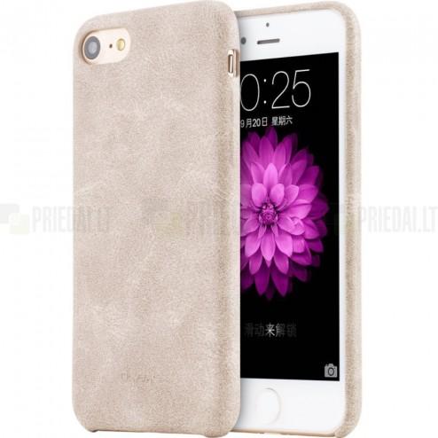 """""""USAMS"""" Slim Leather Bob serijos Apple iPhone 7 (iPhone 8) smėlio spalvos odinis dėklas - nugarėlė"""